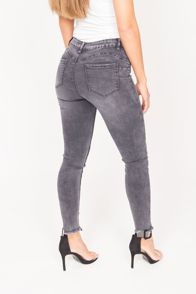 Jeans | Push-Up Dark Grey mit hohem Bund