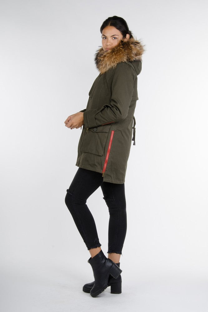 Red Zipper Parka - Khaki