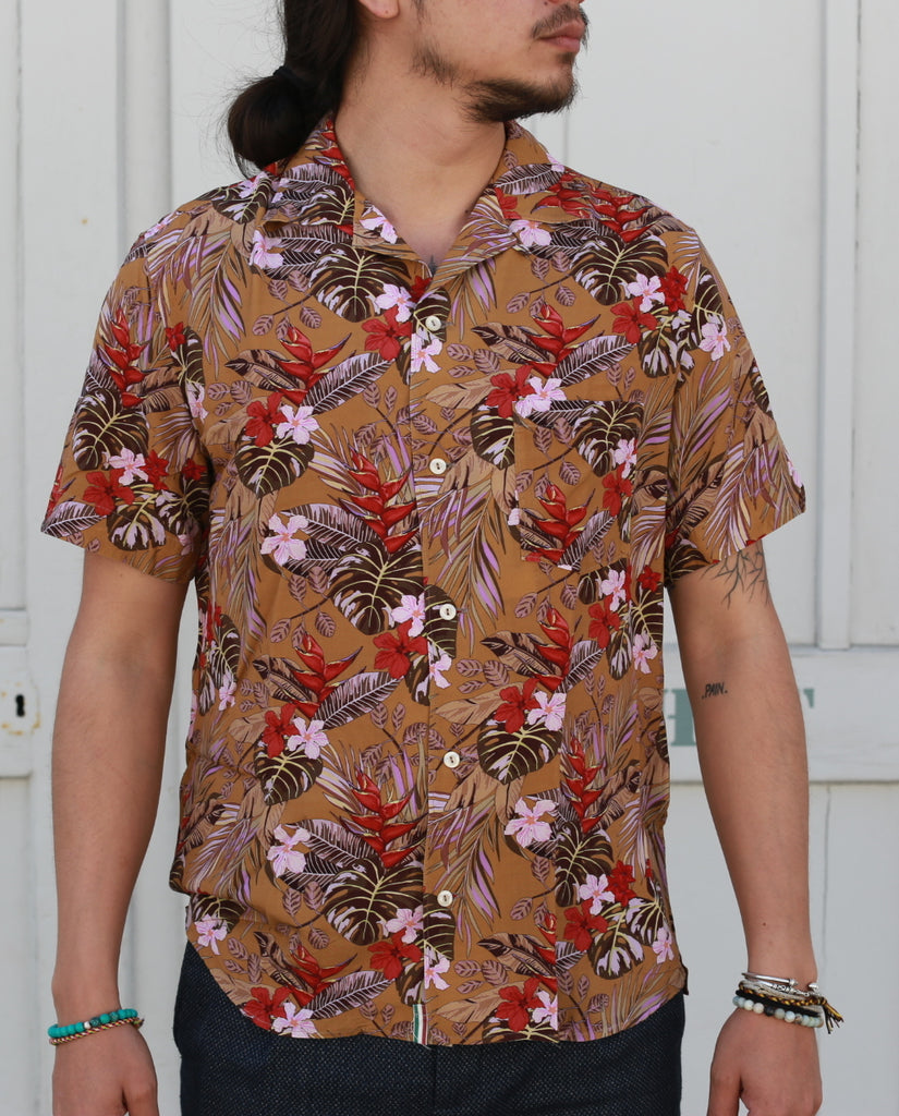 BROWN TROPICAL PRINT SHIRT