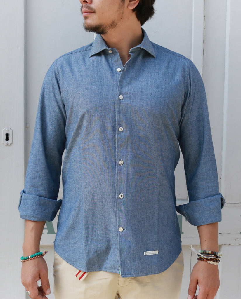 CAMICIA BLUE CHAMBRAY SHIRT slim fit