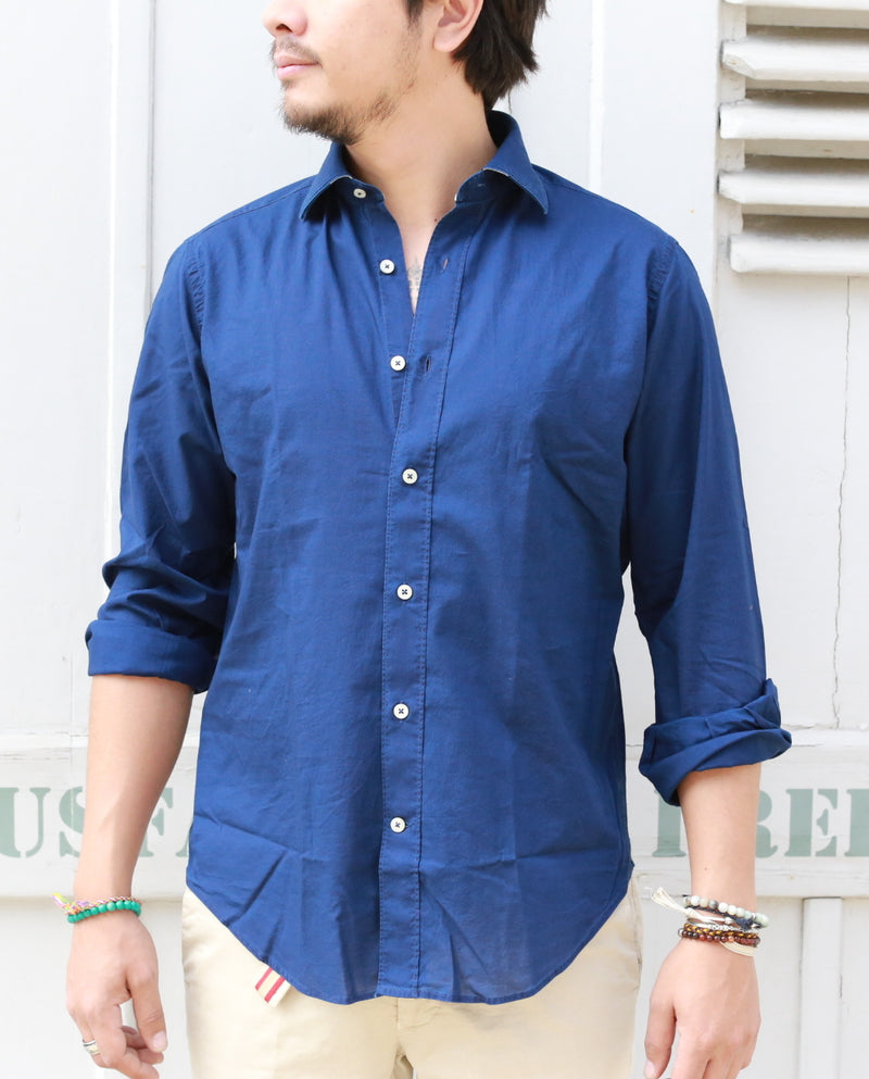POPLIN SHIRT INDIGO regular fit