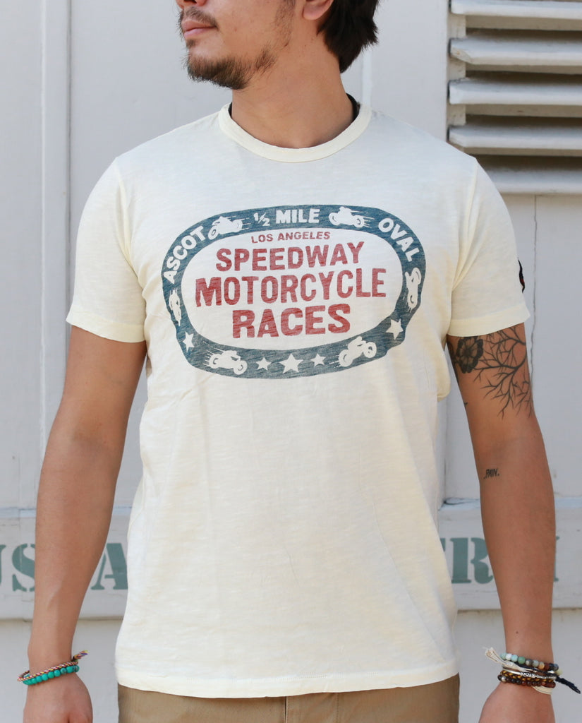 SPEEDWAY MOTORCYCLE RACE dirty white