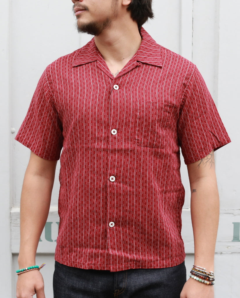 STRIPE OPEN SHIRT [America Casual Work] 06-086 red