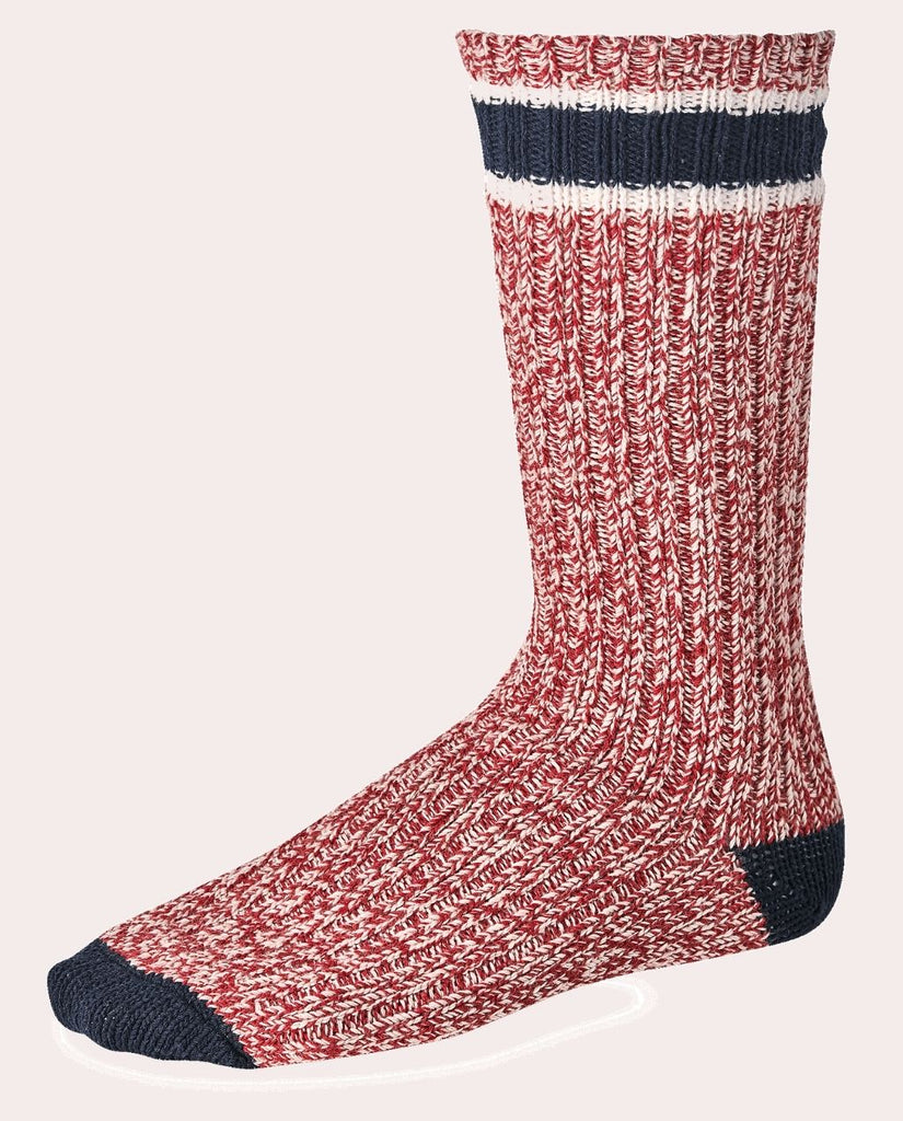 STRIPED WOOL RAGG CREW SOCKE weiß/rot