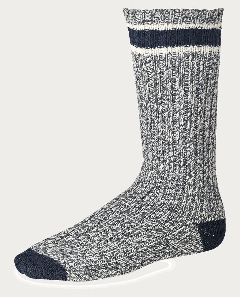 STRIPED WOOL RAGG CREW SOCKE weiß/blau