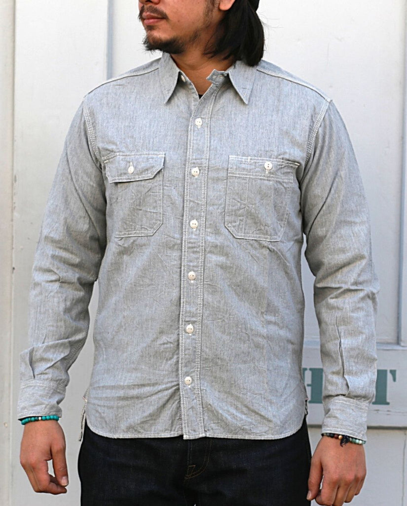 MS033Z CHMBRAY WORK SHIRT grey