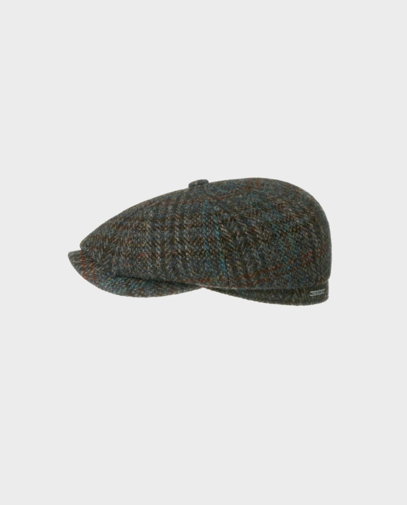STETSON HATTERAS HARRIS TWEED 8 PANEL NEWBOY FLATCAP
