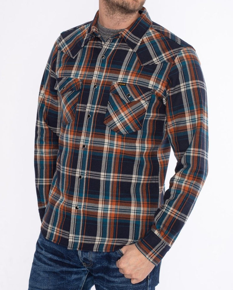 IHSH-262 CRAZY CHECK WESTERN SHIRT NAVY