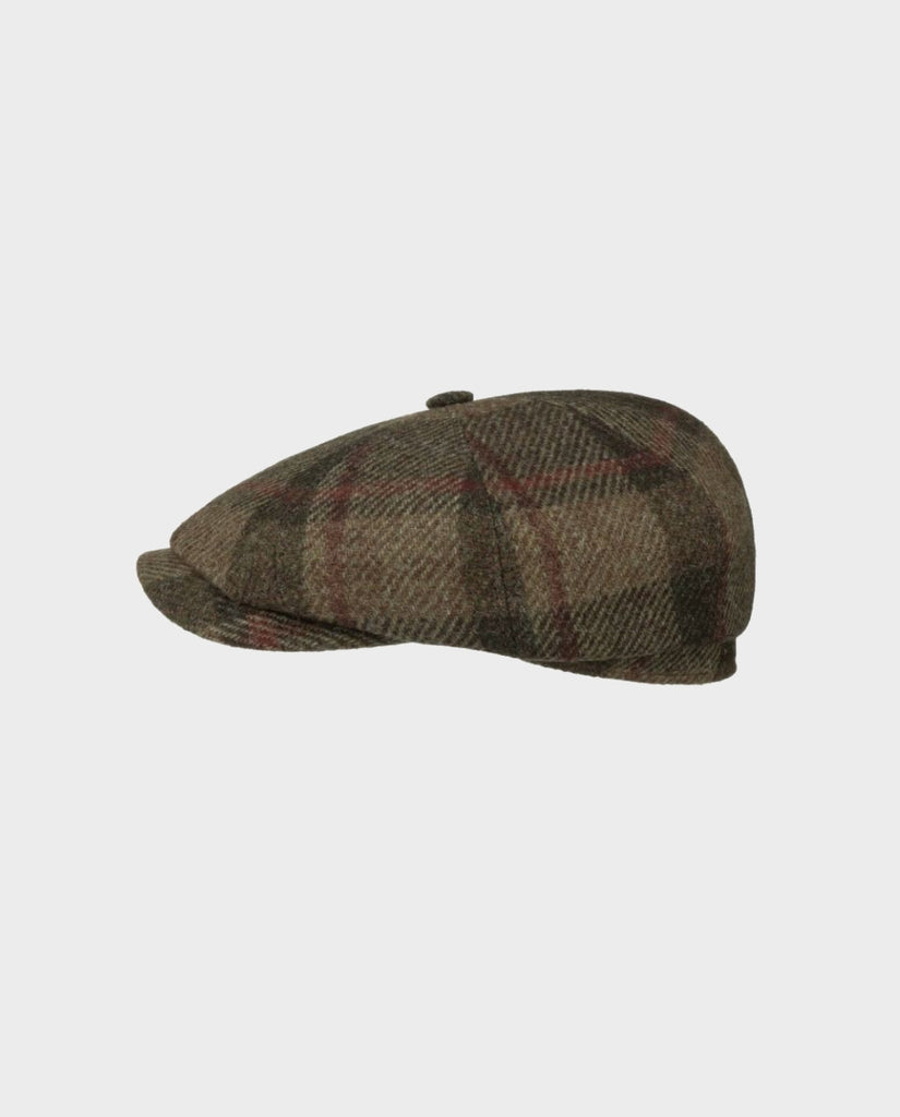 HATTERAS VIRGIN WOOL CHECK FLATCAP OLIV