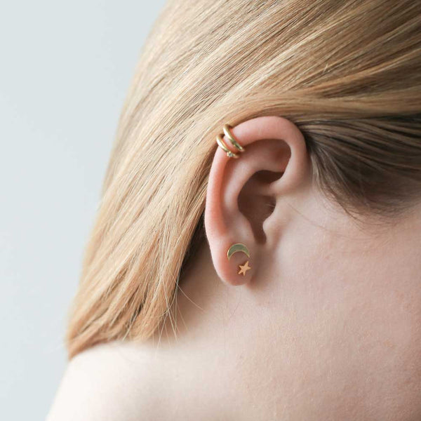 Maison Miru Ear Cuffs and Moon and Star Stud Earrings
