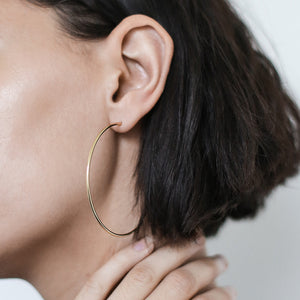 "2.5"" Classic Gold Hoops at Maison Miru Jewelry @maisonmiru"