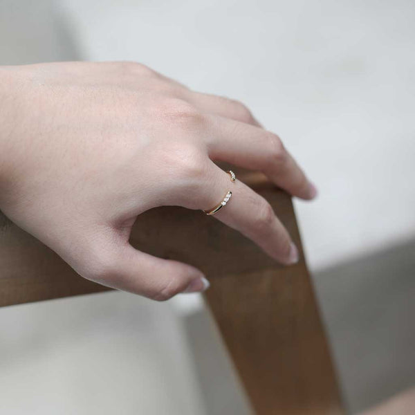 Ariel Ring - our delicate open ring with twin sets of inset crystals - Maison Miru Jewelry (@maisonmiru)