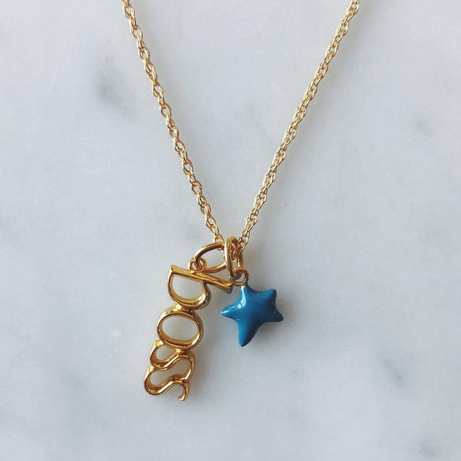 Boss Charm in Gold Vermeil on Necklace