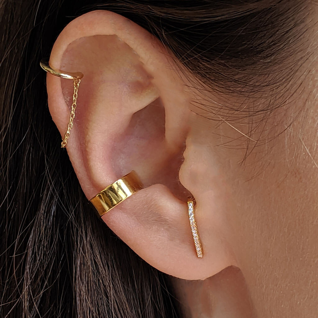 Celestial Hook Earrings in Gold Vermeil on model