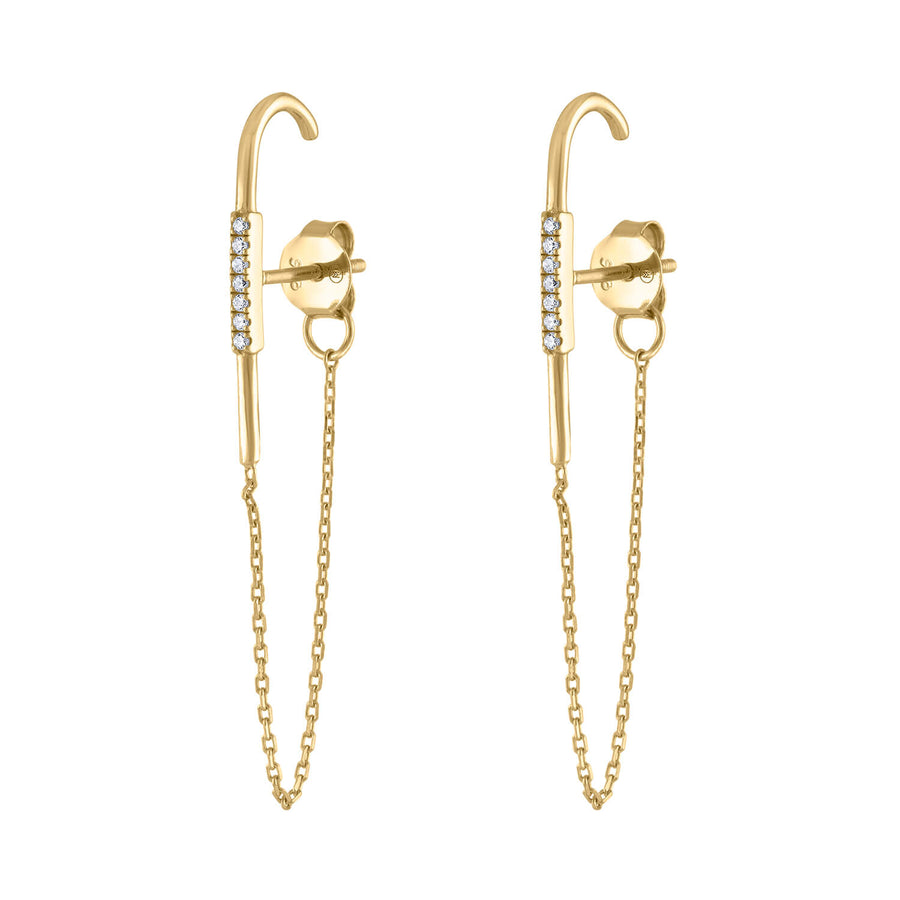 Celestial Suspender Chain Earrings in Gold Vermeil