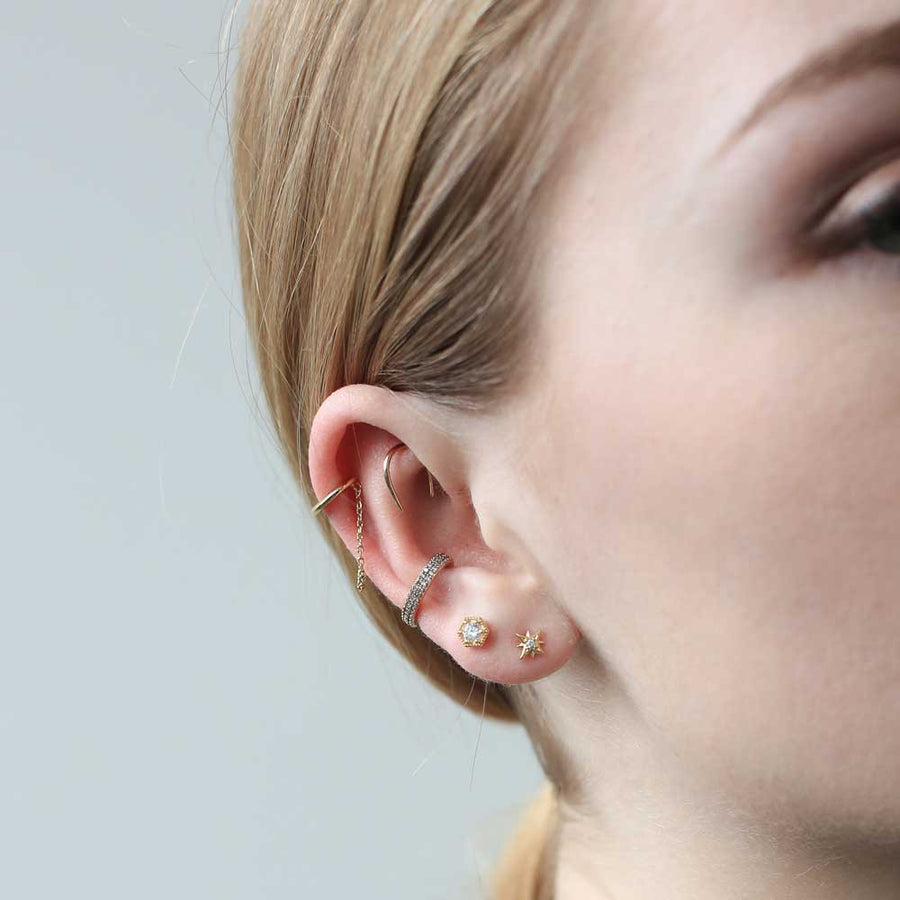 Whisper Open Hoops in 14K Gold on model