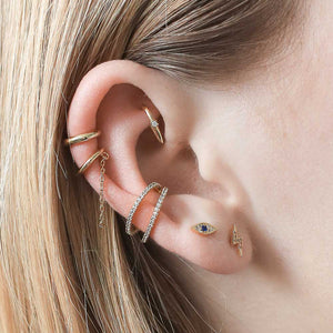 Pave Lightning Push Pin Flat Back Earring in Gold on model