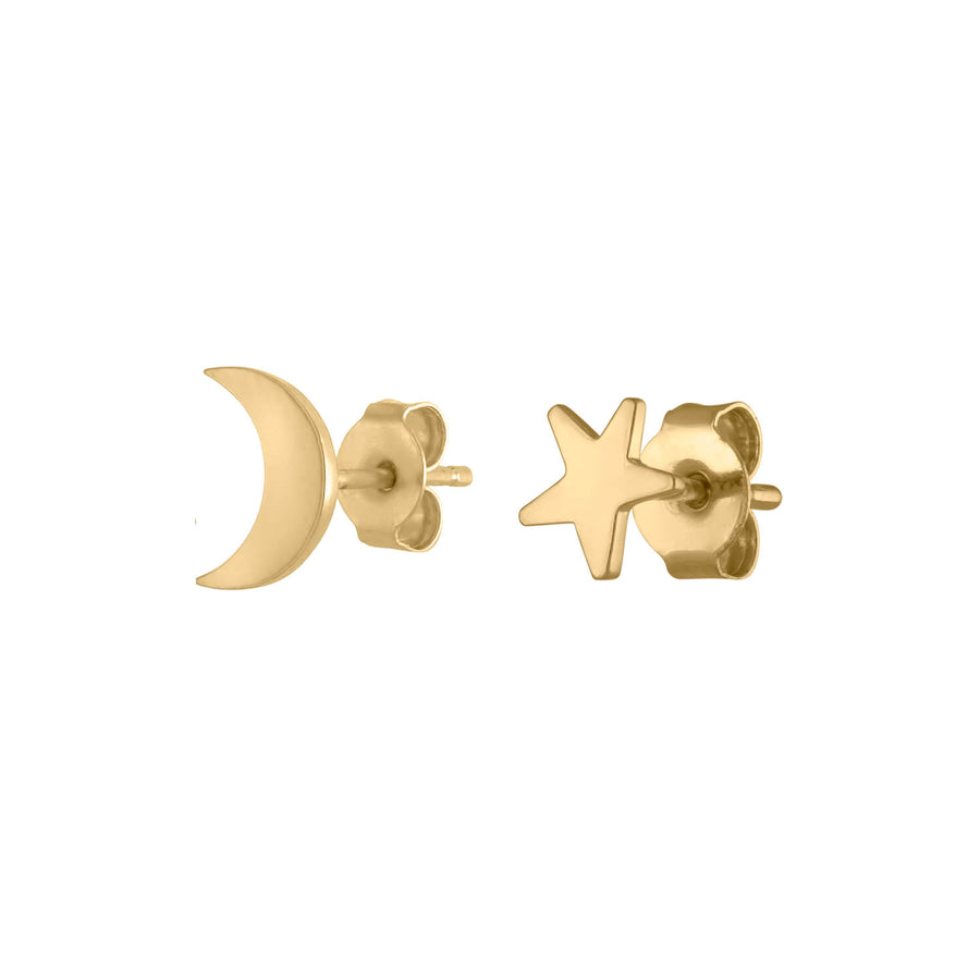 Classic Moon and Star Studs at Maison Miru Jewelry @maisonmiru