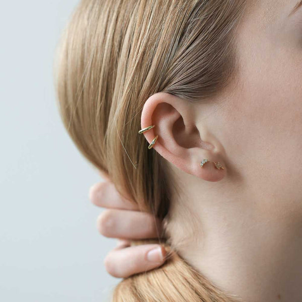 Shooting Star Ear Cuff - simple gold ear cuff kissed by a tiny crystal - Maison Miru Jewelry (@maisonmiru)