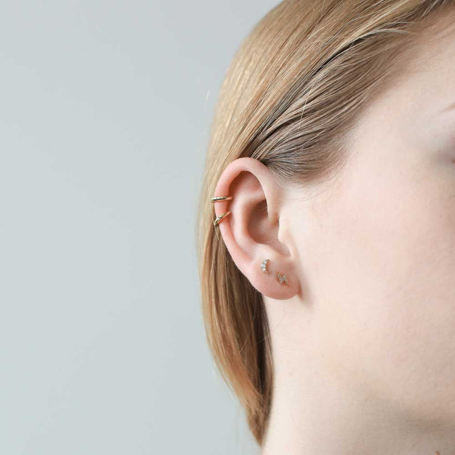 Pave Moon Studs in 14k Gold on model