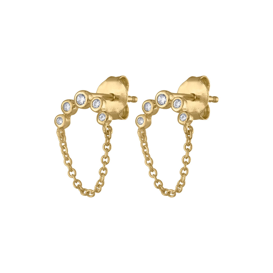 Cosmic Chain Studs in Gold Vermeil at Maison Miru Jewelry @maisonmiru