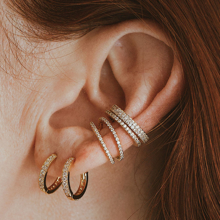 Crystal Ear Cuff Trio on model
