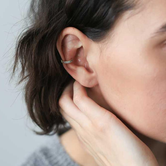 Double Eternity Arc Ear Cuff in Sterling Silver on model