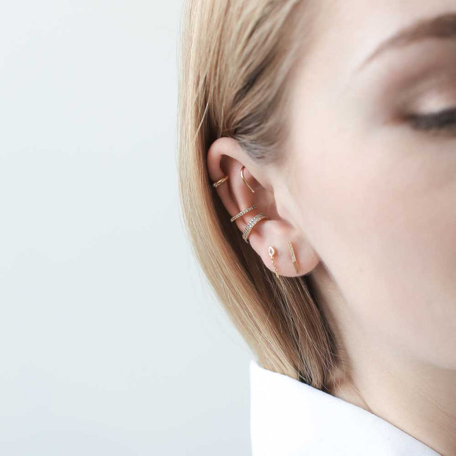 Whispering Star Open Hoop Earrings in Sterling Silver at Maison Miru Jewelry @maisonmiru