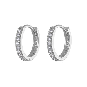 Eternity Hoop Earrings in Sterling Silver at Maison Miru Jewelry @maisonmiru