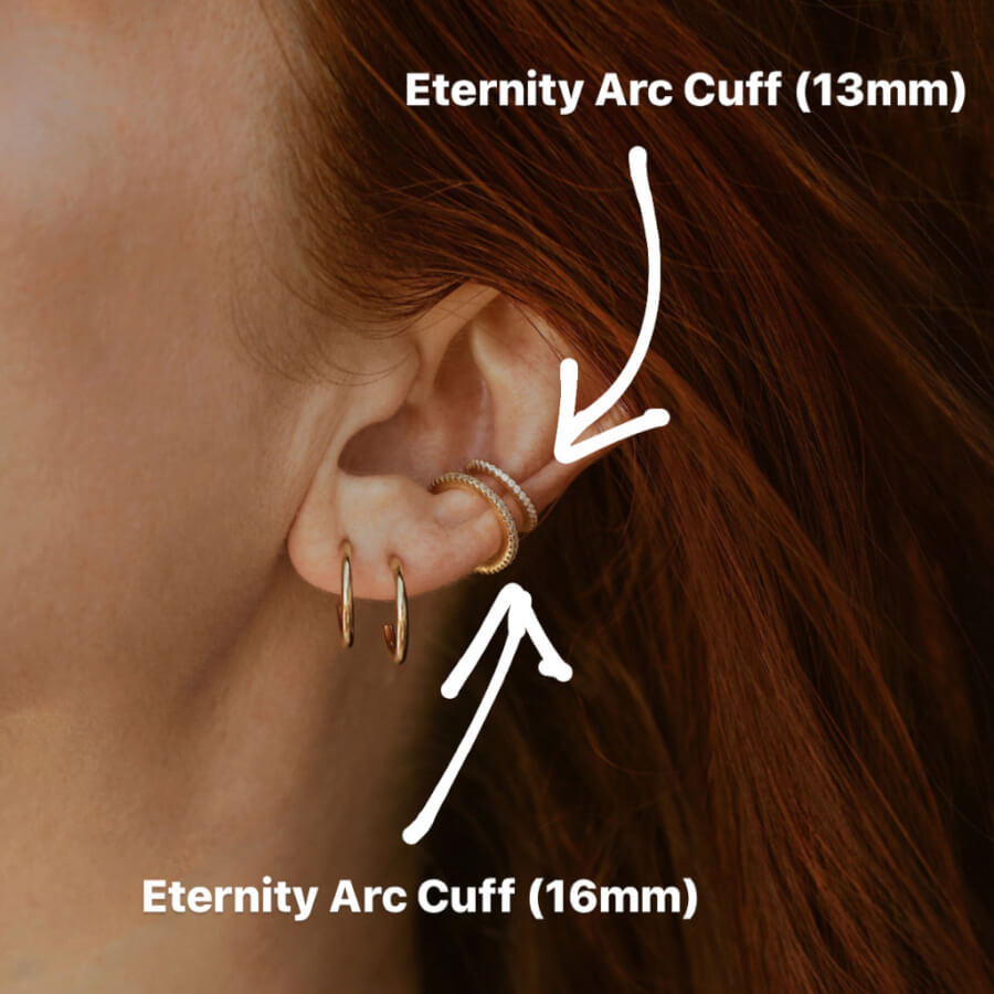 Eternity Arc Ear Cuff sizing on model