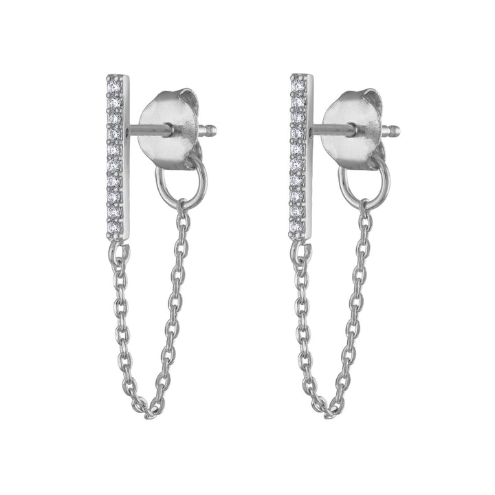 Falling Star Crystal Chain Earrings in Sterling Silver at Maison Miru Jewelry @maisonmiru