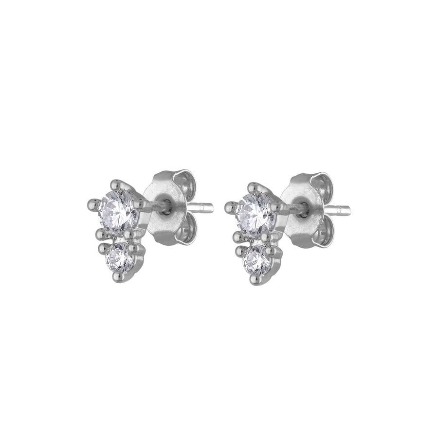 Gaia Crystal Studs in Sterling Silver