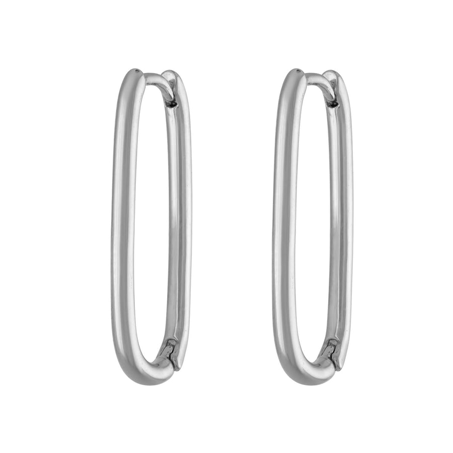 Halo Oval Hoop Earrings in Sterling Silver at Maison Miru Jewelry @maisonmiru