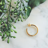 Cassie Ring - open adjustable size ring with a minimalist pearl prong setting - Maison Miru Jewelry (@maisonmiru)