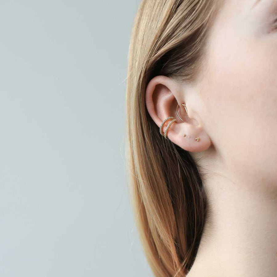 Tiny Trinity Studs in Sterling Silver at Maison Miru Jewelry @maisonmiru