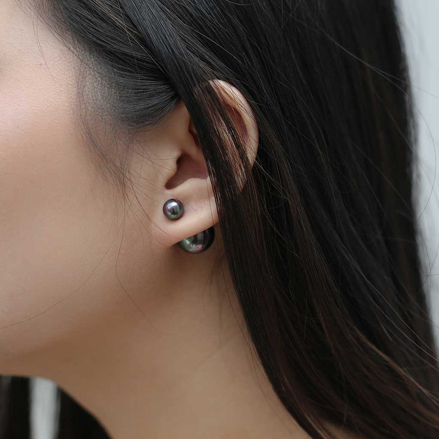 Isabelle Pearl Earrings in Onyx at Maison Miru Jewelry @maisonmiru