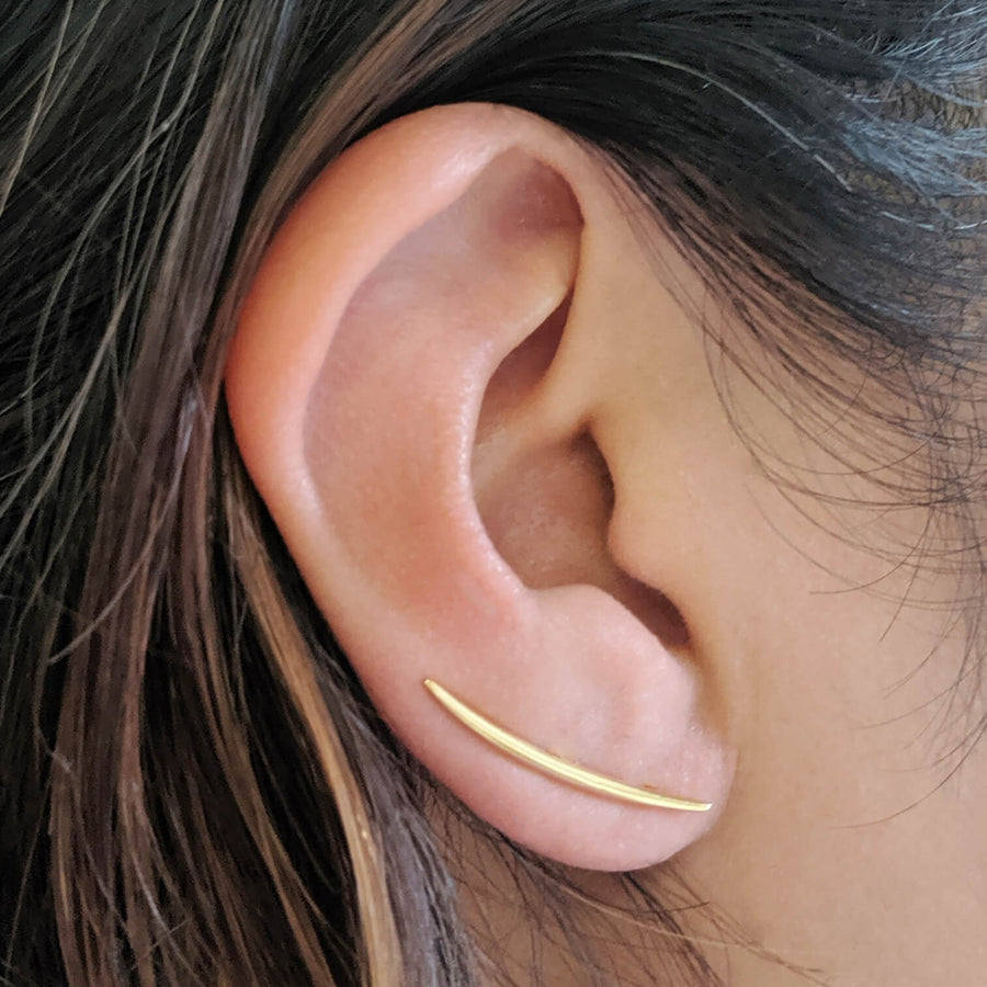 Whisper Ear Climbers in Gold Vermeil on model