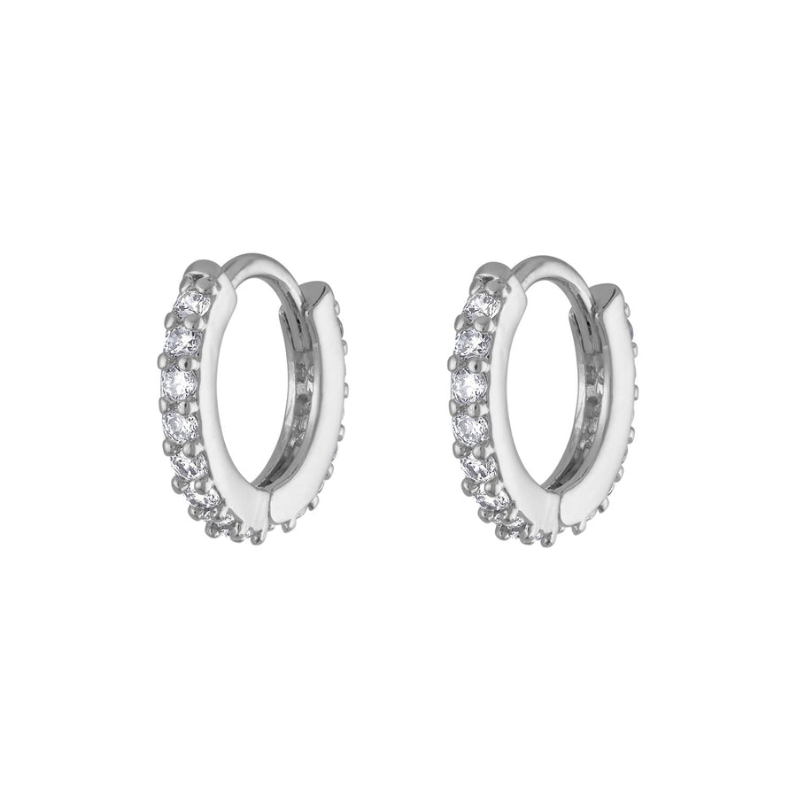Mini Eternity Hoop Earrings in Sterling Silver