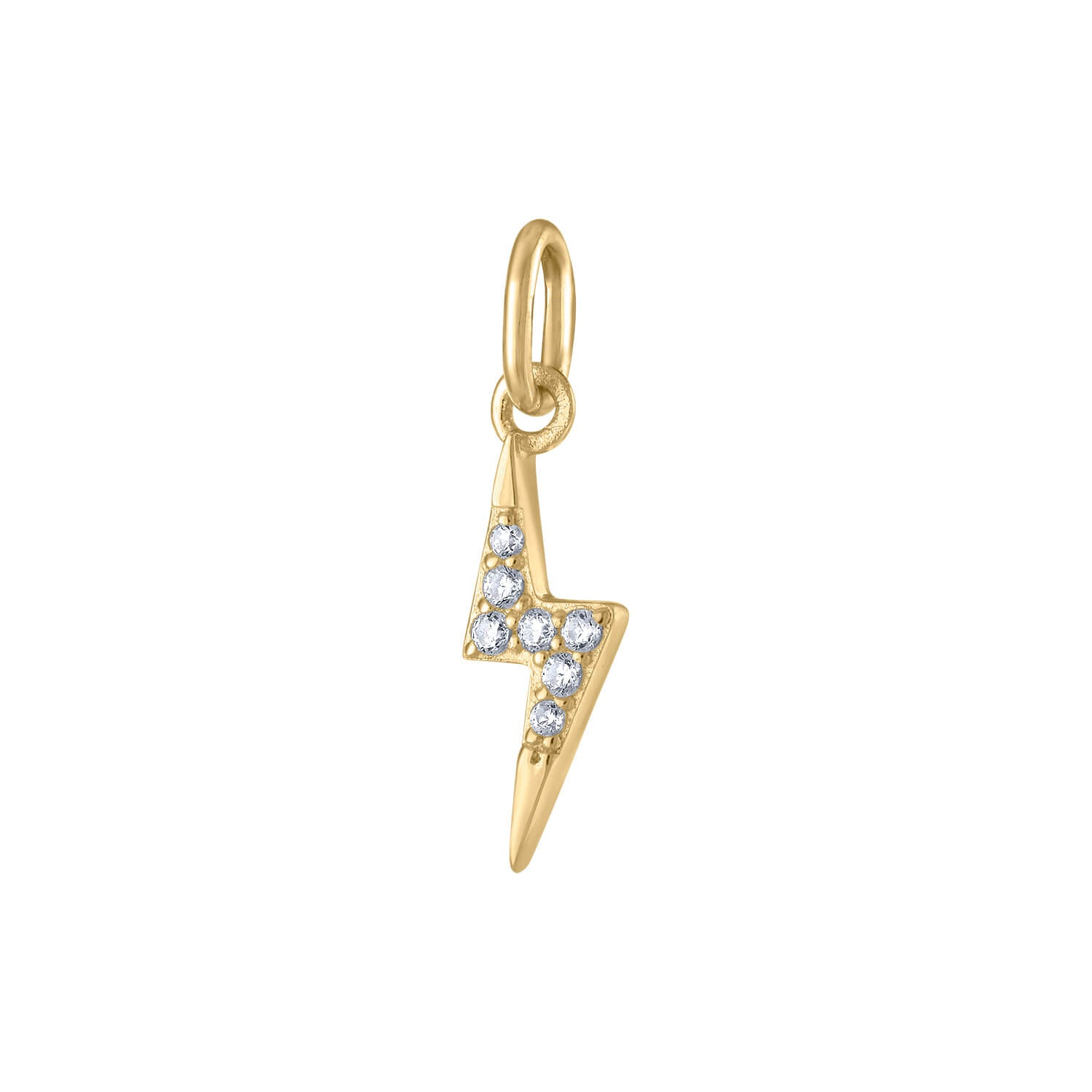 Mini Pave Lightning Charm in Gold Vermeil