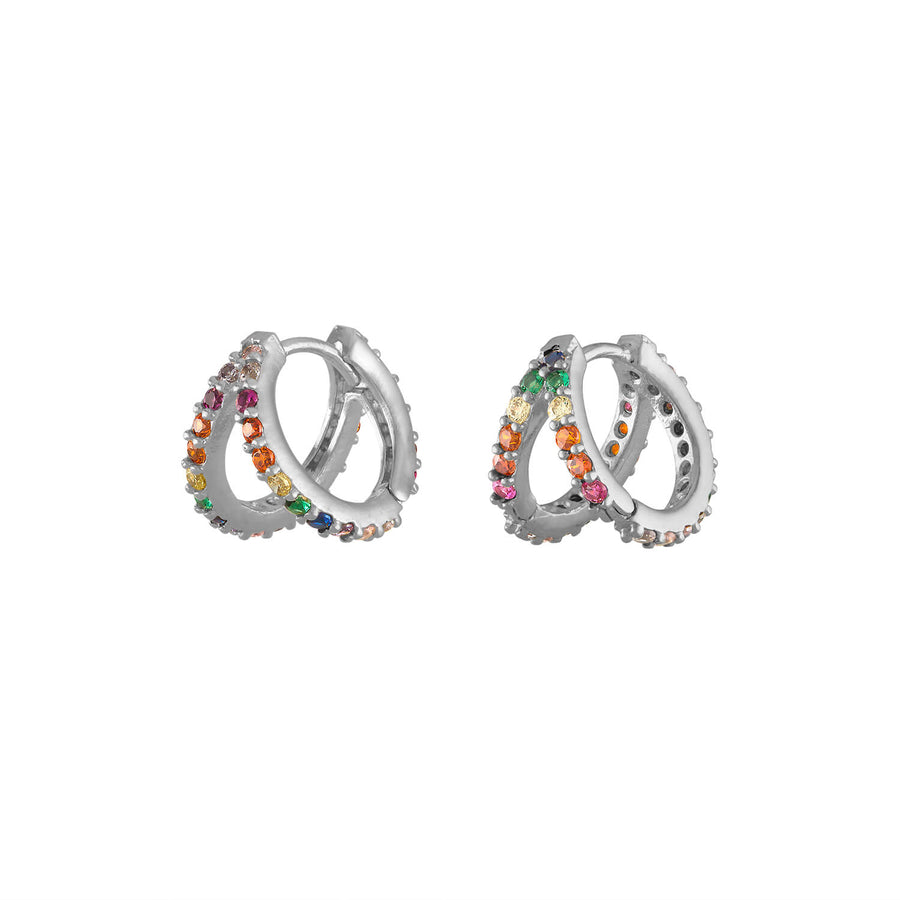Rainbow Infinite Huggie Earrings in Sterling Silver