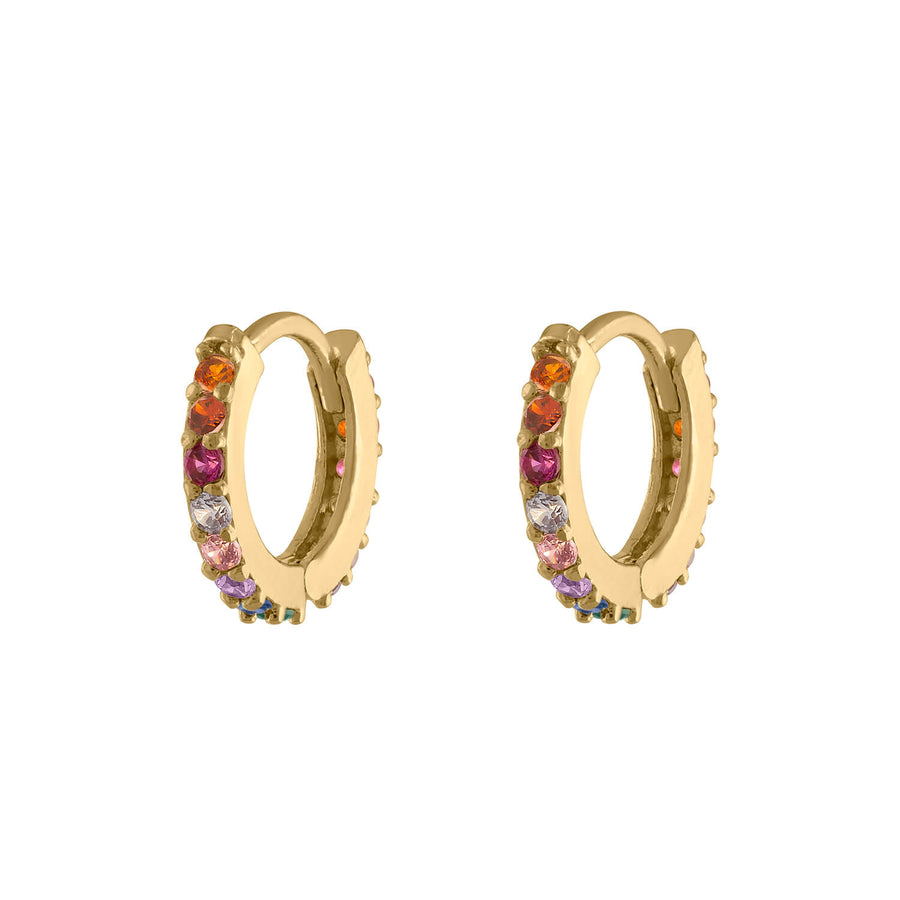 Rainbow Mini Eternity Hoop Earrings