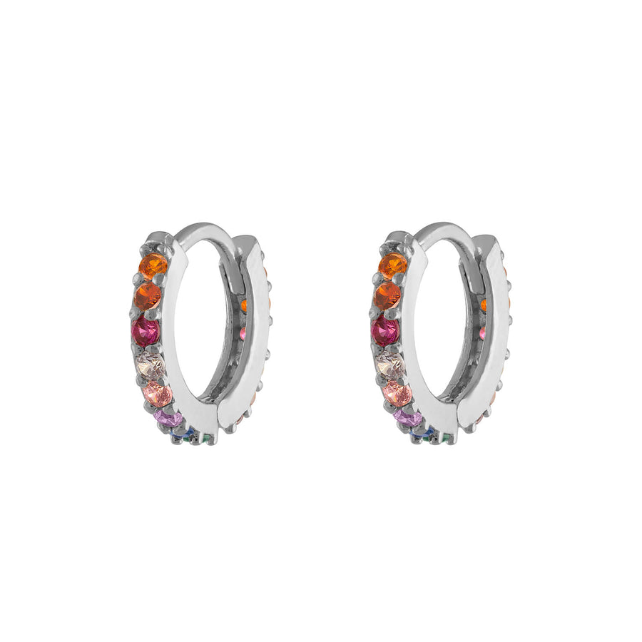 Rainbow Mini Eternity Hoop Earrings in Sterling Silver