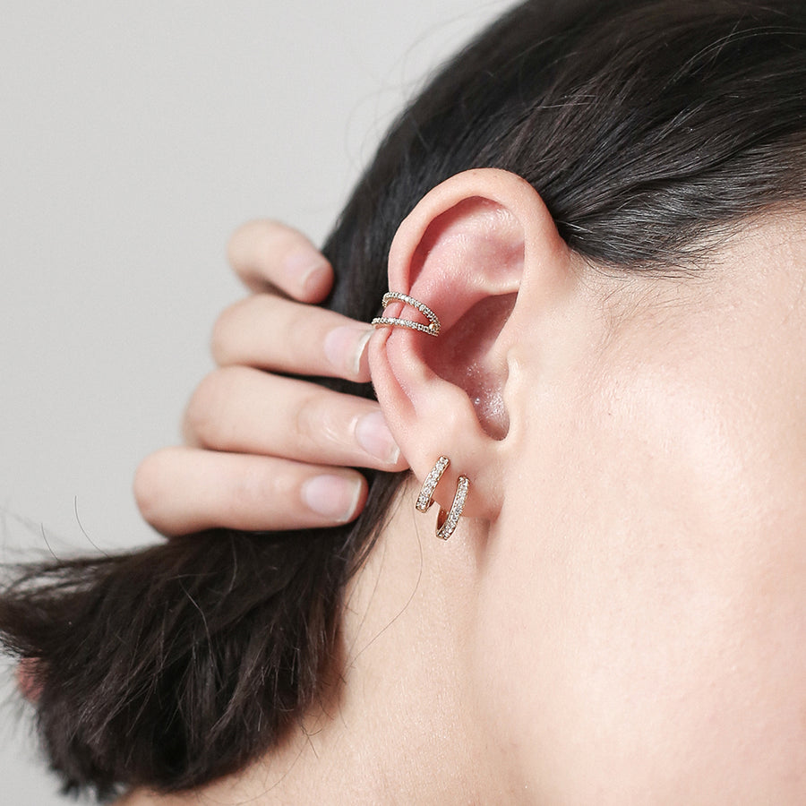 Small Crystal Hoop Earrings at Maison Miru Jewelry @maisonmiru