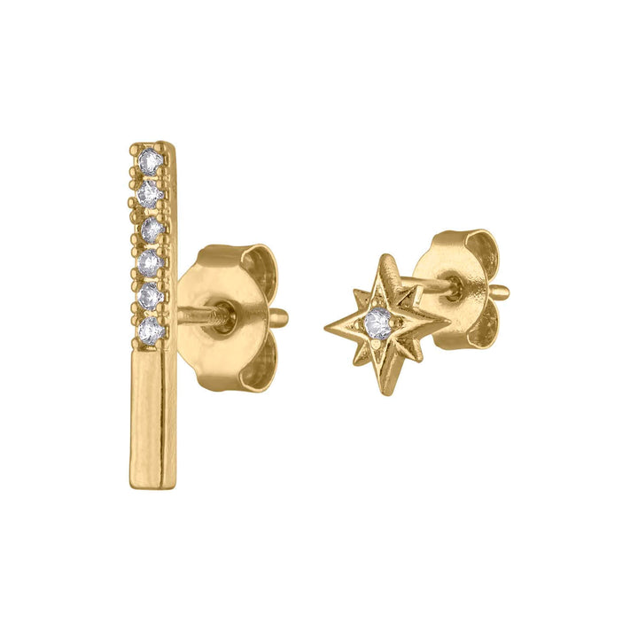 Pave Bar and North Star Studs at Maison Miru Jewelry @maisonmiru