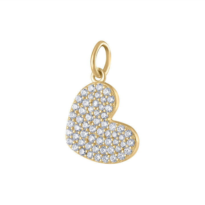 Pave Heart Charm in Gold Vermeil at Maison Miru Jewelry @maisonmiru