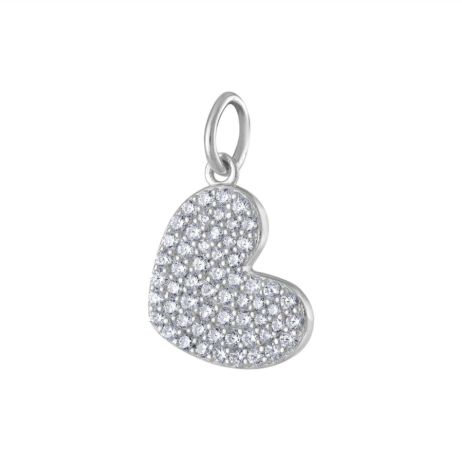 Pave Heart Charm in Sterling Silver
