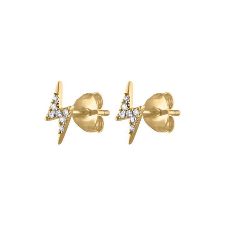 Pave Lightning Studs in 14k Gold