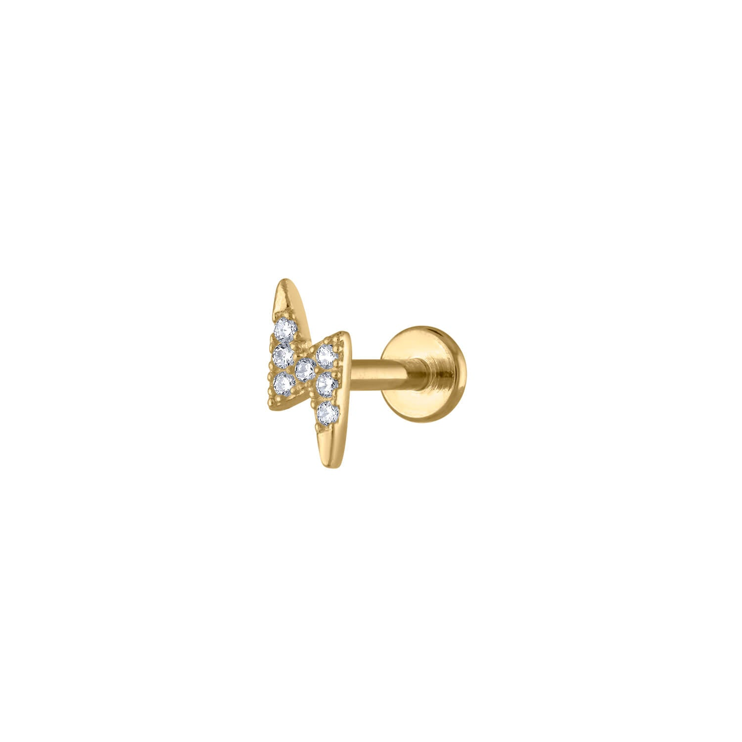 Pave Lightning Threaded Flat Back Earring In Gold Maison Miru