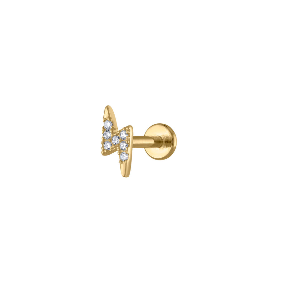 Pave Lightning Threaded Flat Back Earring at Maison Miru Jewelry @maisonmiru