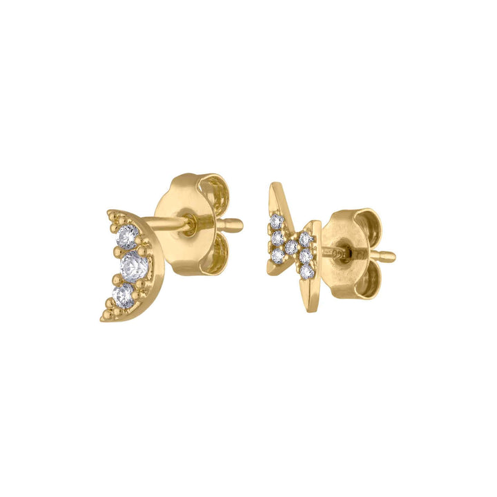 Pave Moon and Lightning Studs at Maison Miru Jewelry @maisonmiru